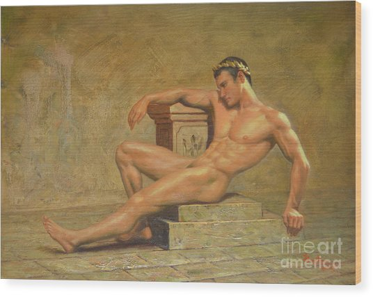 Original Classic Oil Painting Gay Man Body Art Male Nude -023 Wood Print