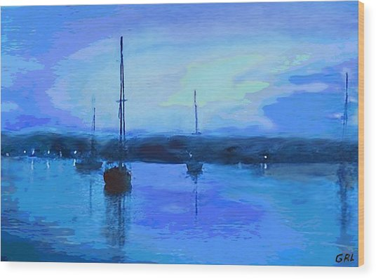 Original Digital Painting Quiet Evening Wood Print