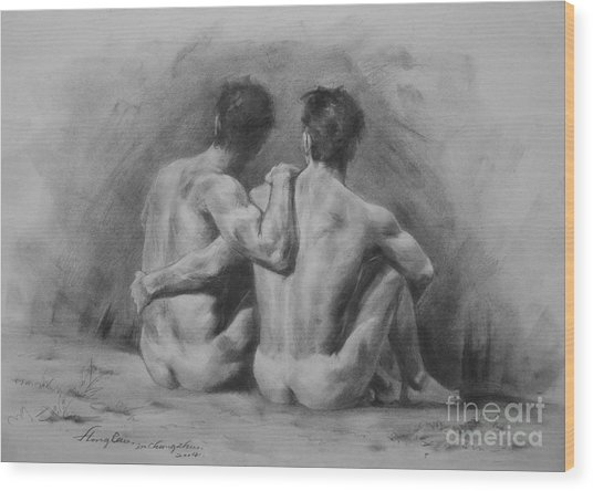 Original Drawing Sketch Charcoal Chalk Male Nude Gay Man Art Pencil On Paper By Hongtao Wood Print
