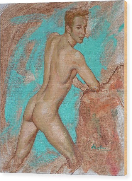 Original Impression Man Body Oil Painting Male Nude On Canvas#16-2-6-05 Wood Print
