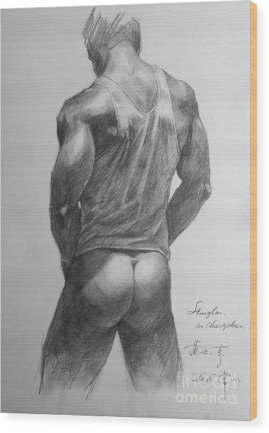 Original Man Gay Pencil Drawing Sketch Art On Peper By Hongtao Wood Print