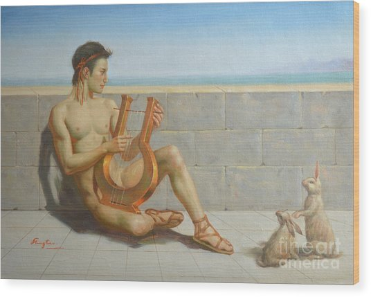Original Oil Painting Gay Man Art-male Nude And Rabbit#16-02-5-41 Wood Print