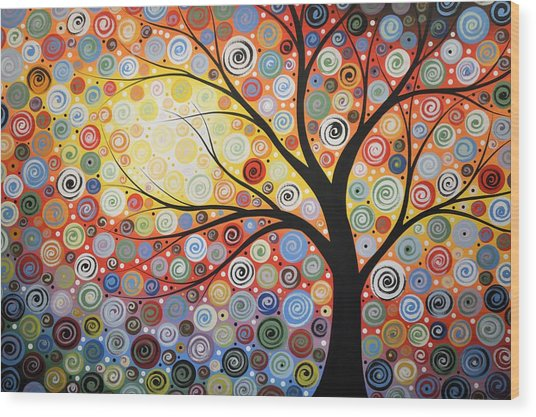 Original Painting Print Titled Celestial Sunset Wood Print