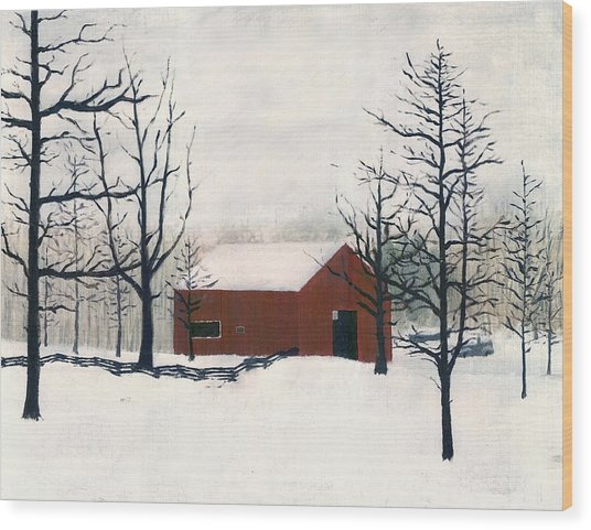 Original Painting Red Barn Snow Maryland Wood Print