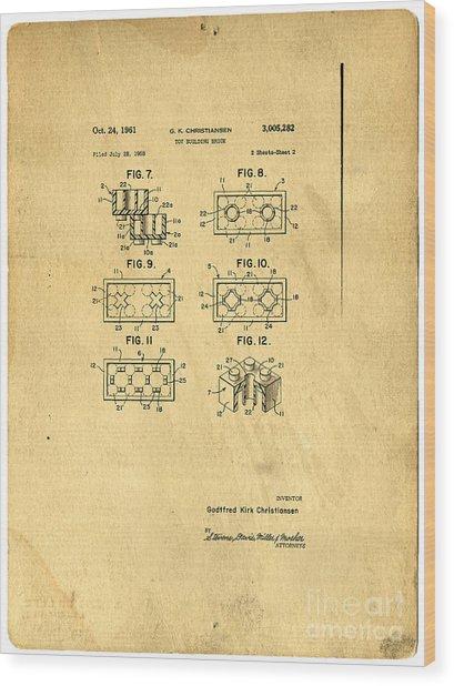 Original Patent For Lego Toy Building Brick Wood Print