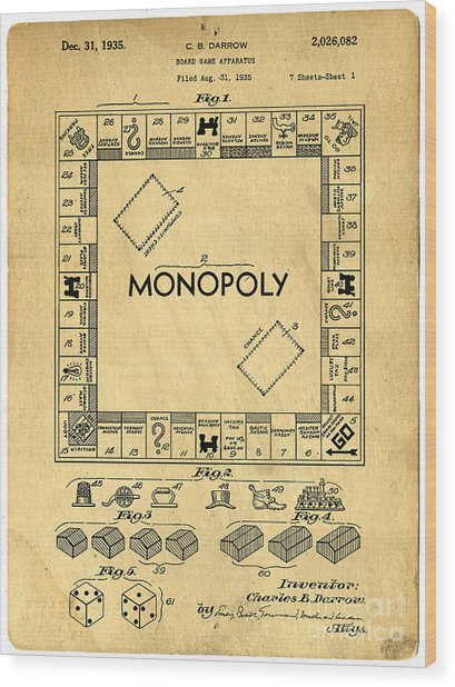 Original Patent For Monopoly Board Game Wood Print