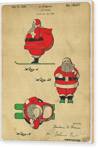 Original Patent For Santa On Skis Figure Wood Print