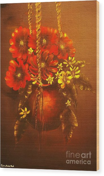 Hanging Flower Pot-original Sold-buy Giclee Print Nr 24 Of Limited Edition Of 40 Prints   Wood Print