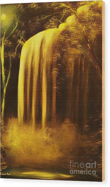 Moon Shadow Waterfalls- Original Sold - Buy Giclee Print Nr 30 Of Limited Edition Of 40 Prints    Wood Print