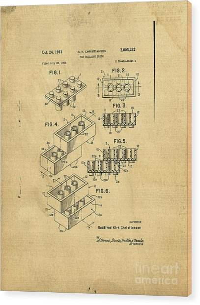 Original Us Patent For Lego Wood Print