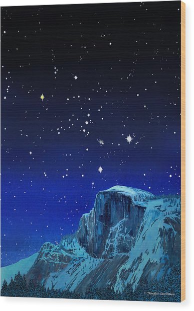 Orion Over Halfdome Wood Print