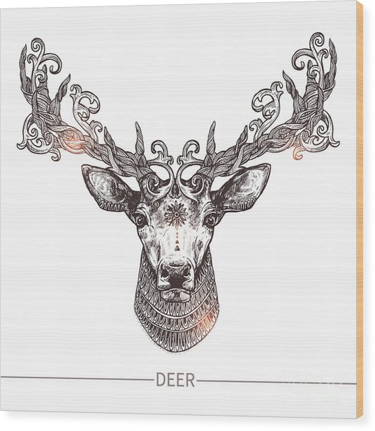 Ornamental Tattoo Deer Head. Highly Wood Print