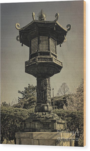 Ornate Lamp Post In Front Of A Buddhist Temple Wood Print