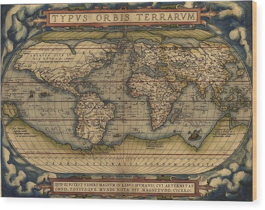 Ortelius Old World Map Wood Print