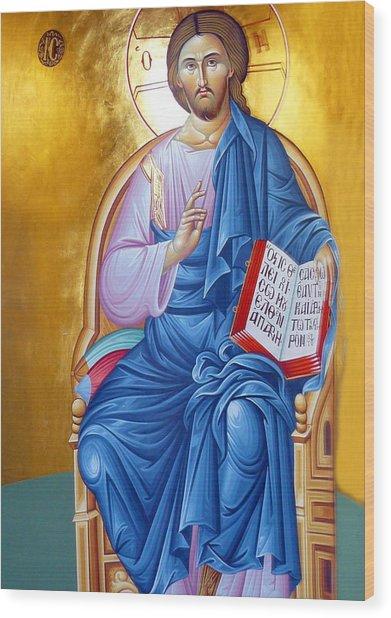 Orthodox Icon Of Jesus In Blue Wood Print