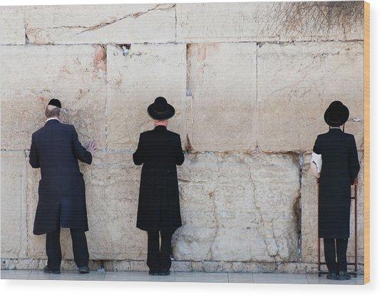 Orthodox Jewish Men Praying At The Wood Print by Nils Juenemann / Eyeem