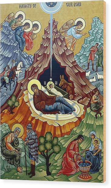 Orthodox Nativity Of Christ Wood Print