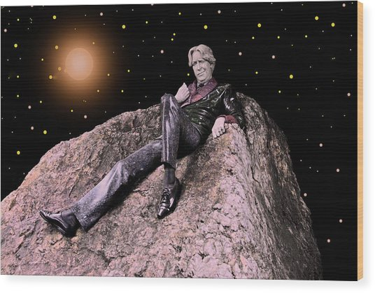 Oscar Wild Floting In Space Wood Print