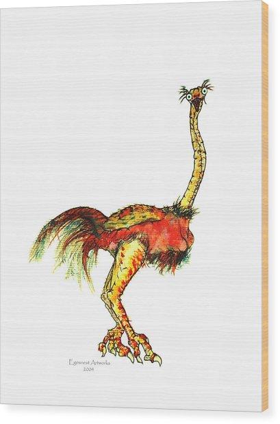 Ostrich Card No Wording Wood Print