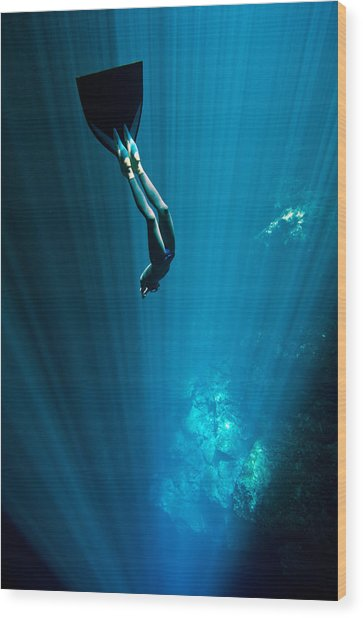 Into The Blue Wood Print by One ocean One breath