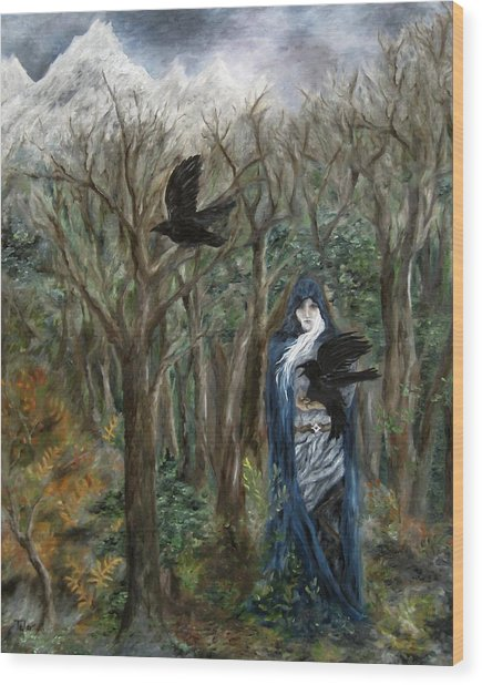 The Raven God Wood Print