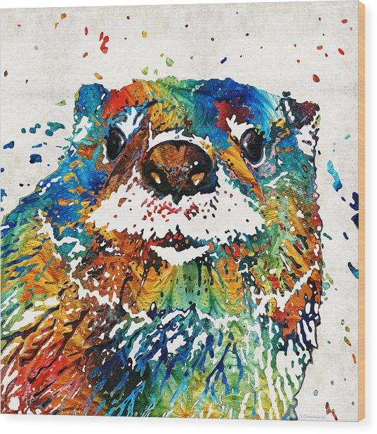 Otter Art - Ottertude - By Sharon Cummings Wood Print