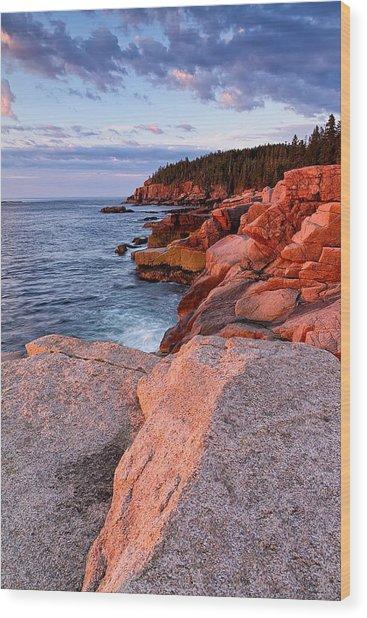 Otter Cliffs At First Light Wood Print