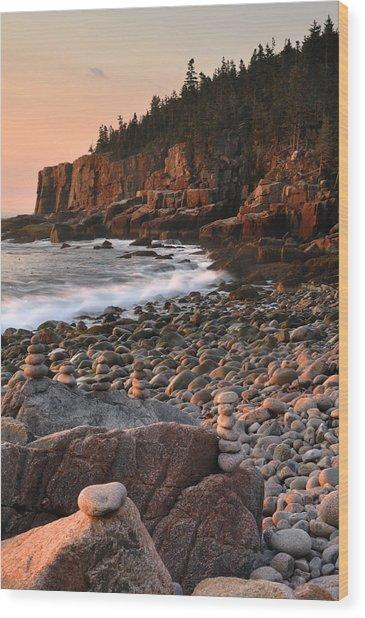 Otter Cliffs Morning Wood Print