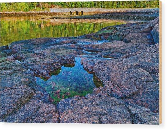 Otter Cove Bridge And Tide Pool Wood Print