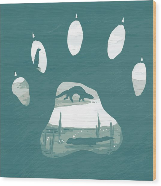 Otter Paw Wood Print