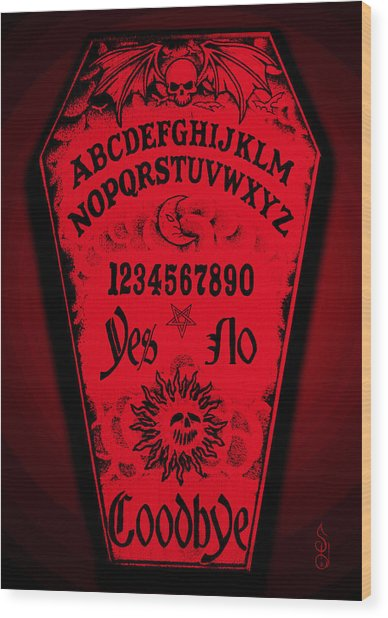 Ouija Coffin Wood Print