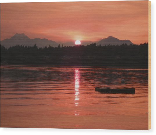 Our Beach At Sunset  Wood Print