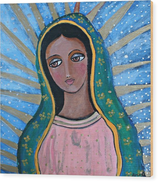 Our Lady Of Guadalupe Folk Art Wood Print