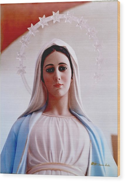 Our Lady Queen Of Peace Statue Wood Print