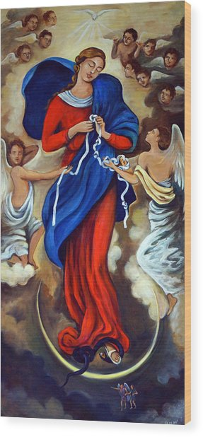 Our Lady Undoer Of Knots Wood Print