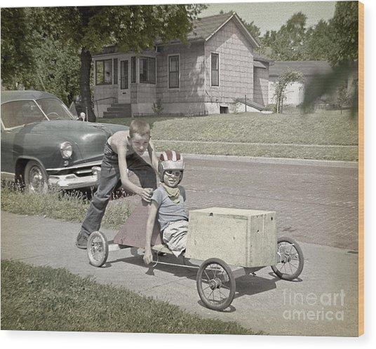 Our Racing Cart Wood Print