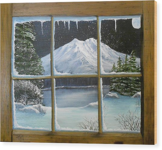 Out My Window-bright Winter's Night Wood Print