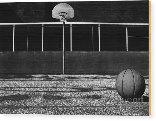 Outdoor Basketball Court Wood Print