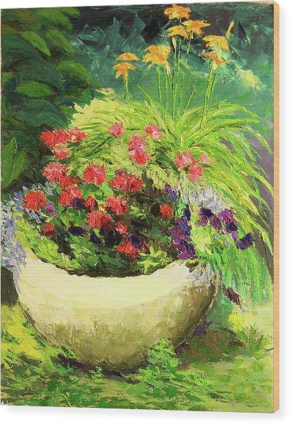 Outdoor Flower Pot  Wood Print