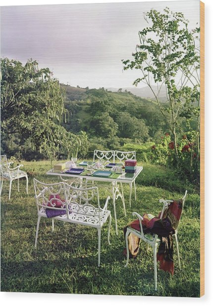 Outdoor Furniture By Lloyd On Grassy Hillside Wood Print