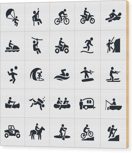 Outdoor Summer Recreation Icons Wood Print by Appleuzr