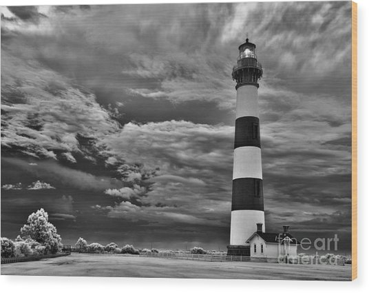 outer Banks - Stormy Day at Bodie Lighthouse BW Wood Print