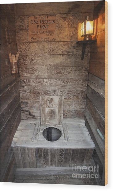 Outhouse Interior Wood Print