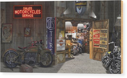 Outside The Motorcycle Shop Wood Print