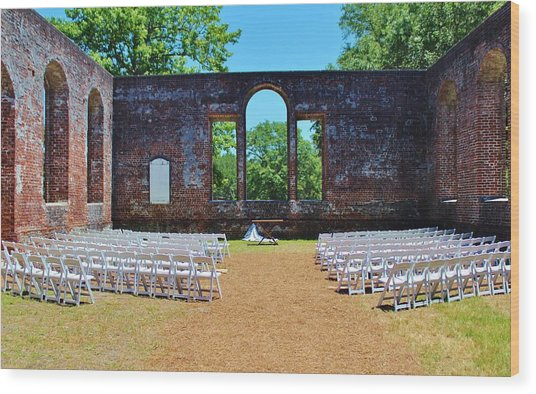 Outside Wedding Wood Print