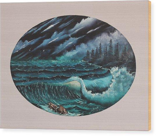 Oval Ocean View Wood Print