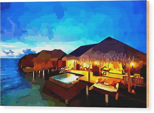 Over Water Bungalows Wood Print