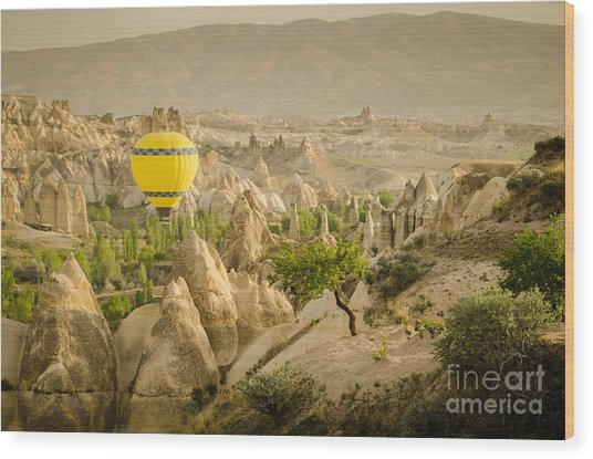 Balloon Over White Valley - Cappadocia Turkey Wood Print by OUAP Photography