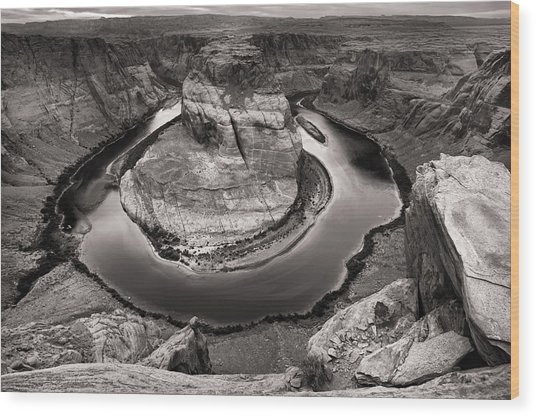 Overcast At Horseshoe Bend Wood Print