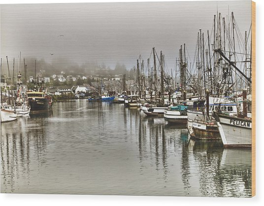Overcast Harbour Wood Print